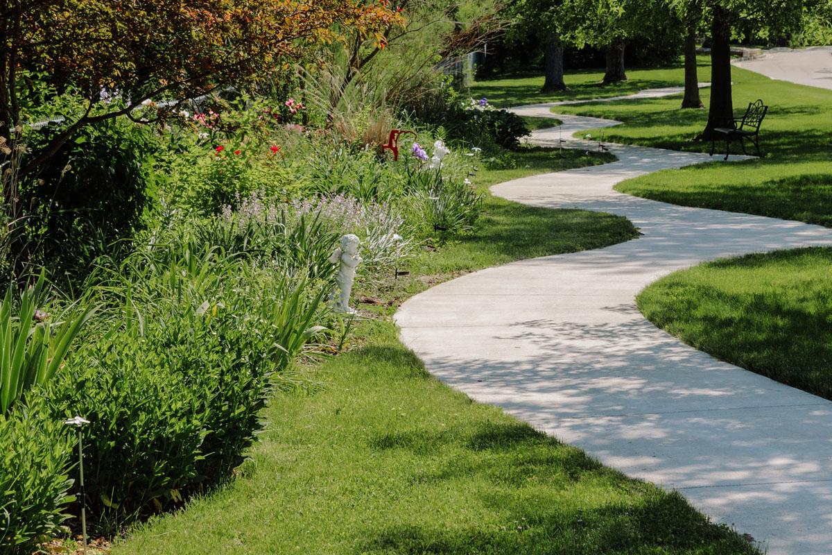 Winding walking path