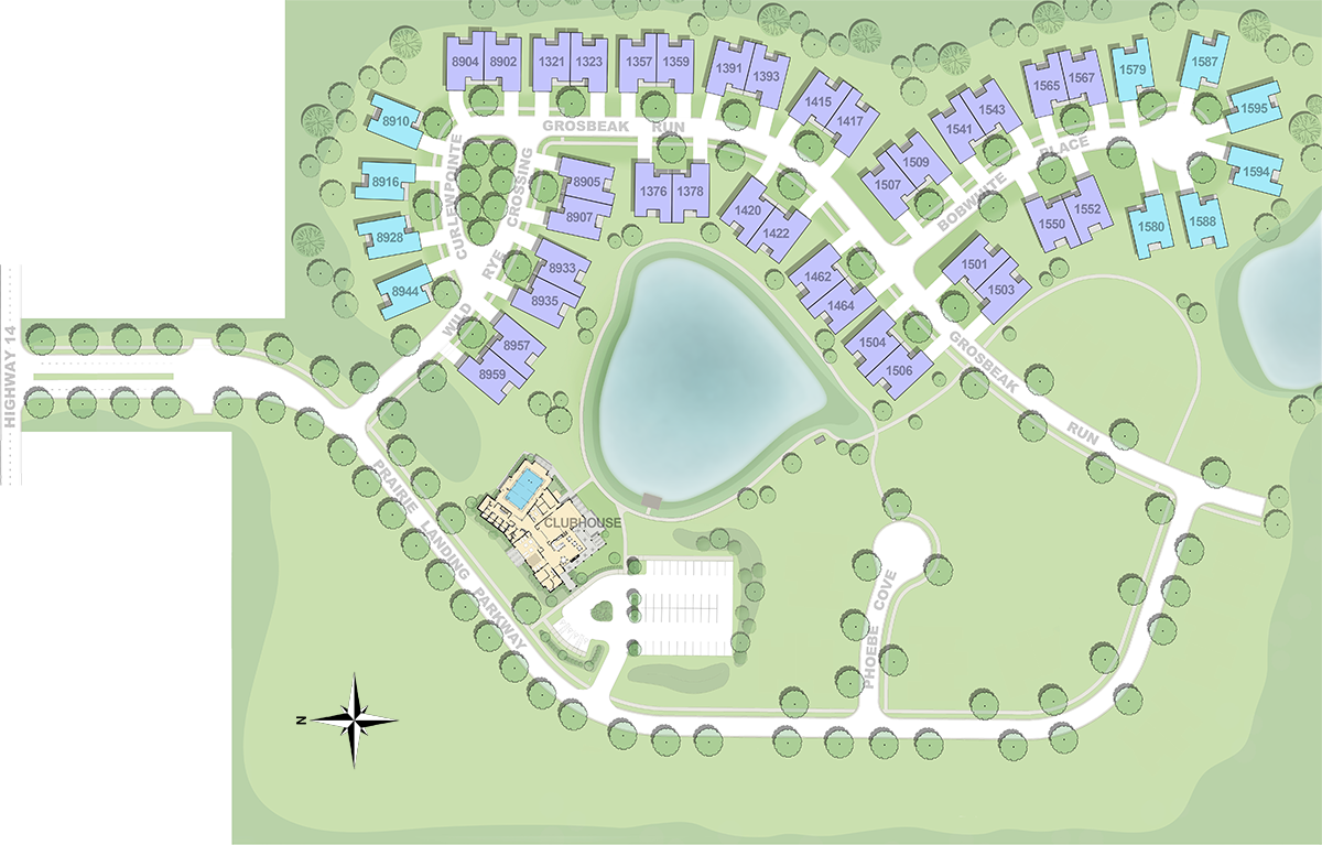 Illustrated map of Prairie Landing Phase 1 construction